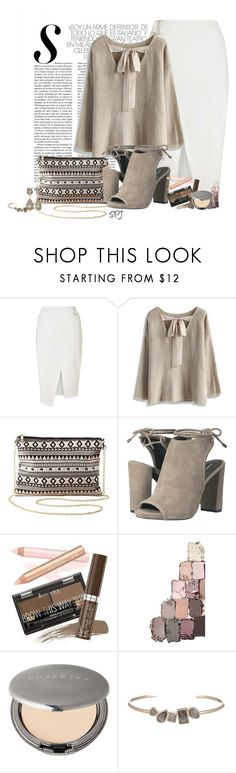 """Neutral Block Heels"" by s-p-j ❤ liked on Polyvore featuring Miss Selfridge, Chicwish, Charlotte Russe, Kenneth Cole, Rimmel, Cover FX, Marcia Moran and Red Camel"