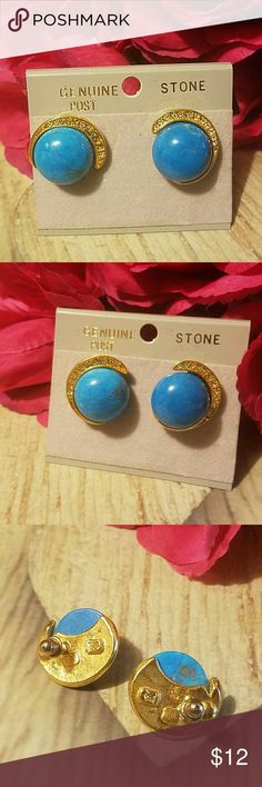 """Beautiful Blue Stone Post Back Earrings Beautiful 3/4"""" Blue Stones set in gold with post backs and crystal accented gold crescents. ITEM#E874 ALL JEWELRY IS NWT/ NWOT/ UNUSED VINTAGE  25% OFF BUNDLES OF 3 OR MORE ITEMS! BUY WITH CONFIDENCE~TOP 10% SELLER, SAME DAY SHIPPING, 5 STAR RATING! FREE GIFT(S) WITH MOST ORDERS! Jewelry Earrings"""