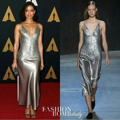 #GuguMbathaRaw graced the 2016 #GovernorsAwards red carpet in a @Narciso_Rodriguez Resort 2017 silver embellished plunging slip dress. Thoughts? #fashionbombdaily #instastyle #celebritystyle #narcisorodriguez #fashion #style #instafashion #realstyle