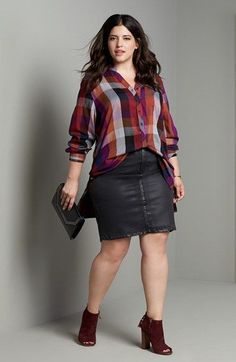 Melissa McCarthy Seven7 Flannel Shirt & Denim Skirt Outfit with Accessories (Plus Size) available at #Nordstrom