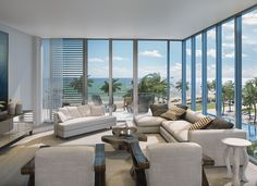 Spectacular living area designs at Auberge Beach Residences