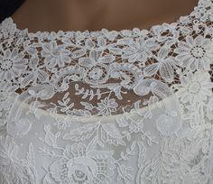 Edwardian Clothing at Vintage Textile: #c426 Brussels handmade mixed lace wedding dress
