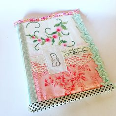 Photo album vintage embroidery hand stamped bunny by roxycreations
