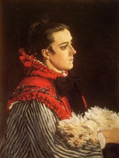 Monet, Claude (1840-1926). Camille with a Small Dog (1866). Oil on canvas; private collection - Poodle