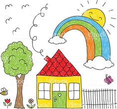 House Drawing For Kids Kid s drawing of a house, House Drawing For Kids, Simple House Drawing, Drawing Games For Kids, Easy Drawings For Kids, Painting For Kids, Art For Kids, Kids Drawing Images, Drawing For Children, Yoda Drawing