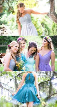 Pastel bridesmaid dresses in lilac, teal, mint, and silver. These short, mismatched styles are easy to love!