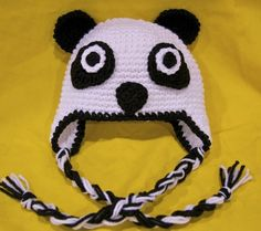 Panda Bear Earflap Hat Crochet Pattern : 1000+ images about Panda hat on Pinterest Pandas, Hats ...