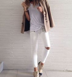 white jeans & Chanel espadrille booties #style #fashion