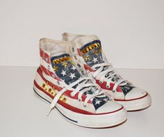 Vintage Converse Chuck Taylor All Star High Top Tennis Shoes Stars and Stripes Studded Chucks Grunge Patriotic