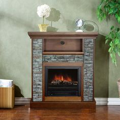 Santino Polystone Electric Fireplace. Authentic-looking Stone and Resin log mantel. Flames looks and feels like the real thing. Combine the classic beauty of fitted stone with the ambiance of a fireplace. It has a powerful 1250 watts heater with adjustable thermostat, adjustable flame intensity, and a realistic 3-D log with flame motion effects. Operate with or without heat.
