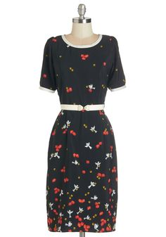 Under Lock and Tweet Dress - Floral, Print with Animals, Work, Bird, Sheath, Short Sleeves, 50s, Woven, Long, Black, Multi, Vintage Inspired