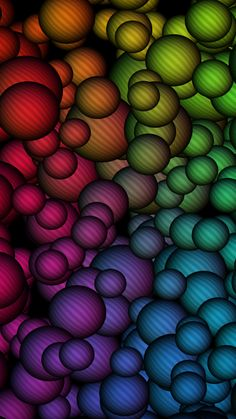 Colorful Striped Balls Wallpaper