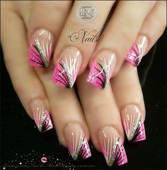 Cute nails, nail art, pink n black tips,