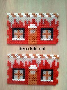 DECO.KDO.NAT: Perles hama: maison du père noël 3D