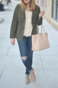 Spring style - lace with a utility jacket and distressed jeans   www.fizzandfrosting.com