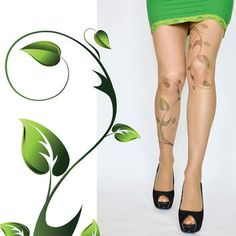 Poison Ivy Tattoo Tights Green Ivy Leafs Print Handprinted Womens ...