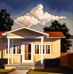 """Kenton Nelson, """"A Visit with Mr. Lynch"""", oil on panel #kentonnelson, #contemporaryart, #americanpainter, #oilpainting, #idealized, #architectural, #yellowhouse, #whitetrim, #craftsman, #frontporch, #bluesky, #puffyclouds, #frontlawn, #neighborhood, #shadows, #trees"""