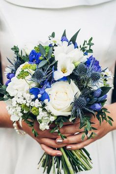 Most Pinned Photos In Blue Wedding Theme ★ blue wedding theme blue navy ivory bouquet jonathan kinnear themes blue 36 Most Pinned Photos In Blue Wedding Theme Prom Flowers, Blue Wedding Flowers, Wedding Flower Arrangements, Bridal Flowers, Flower Bouquet Wedding, Wedding Colors, Wedding Blue, Blue Wedding Bouquets, Royal Blue Bouquet