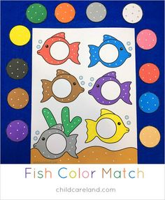 fish color match file folder game for preschool and kindergarten Toddler Learning, Preschool Learning, Early Learning, Preschool Crafts, Homeschool Kindergarten, Toddler Games, Free Preschool, Kids Crafts, Ocean Activities
