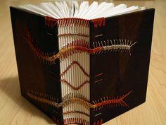 Layered Indigo Night 2 : Caterpillar Coptic bound book by samuelbfeinstein (flickr) http://www.flickr.com/photos/samuelbfeinstein/sets/72157623436752047/with/4718913827/ http://www.etsy.com/shop/sfeinstein #handmade_books #bindings #crafts