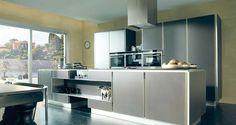 Muebles de cocina.  G-936 acabado Cristal Chocolate / Acero Inox. GAMADECOR.