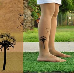 Tattoo Tights - DANDELION - L  full length Light Mocha or Gray  Pantyhose. Pinned on behalf of Pink Pad, the women's health mobile app with the built-in community
