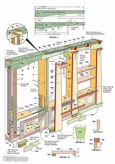 Figure A shows the construction details for this built-in bookcase.