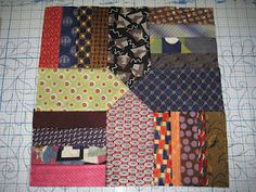 Threads on the floor: Tie quilt, prep work finished (like this setting, looks like nested houses) Used featherweight interfacing to stabilize. Quilt Block Patterns, Quilt Blocks, Necktie Quilt, Tie Pillows, Old Ties, Tie Crafts, Keepsake Quilting, Mens Silk Ties, Contemporary Quilts