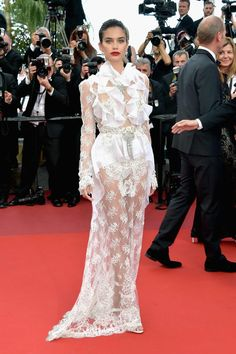 Sara Sampaio in Francisco Scognamiglio attends the Cannes Film Festival 2017