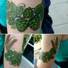 Hops and barley tattoo by Jon O at Born This  Way Body Arts in Knoxville, Tenn.
