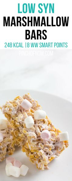 Low Syn Marshmallow Bars | Pinch Of Nom Slimming World Recipes     248 kcal | 4 Syns | 8 Weight Watchers Smart Points
