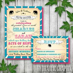 31.50 + printing fees from our choice of printer, Vintage Printable Carnival Wedding Invitation by HydraulicGraphix (Custom Design/Our Perfect Colors)