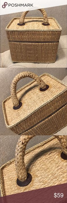 06758795c2 Vintage 60 s straw wicker Train Box Case Purse Kind of obsessed with this  boxy little gem