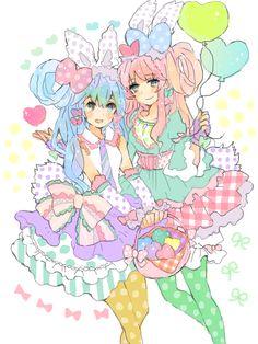 ✮ ANIME ART ✮ pastel. . .colorful. . .cute fashion. . .rabbit ears. . .polka dots. . .bow. . .gloves. . .ruffles. . .tights. . .balloons. . .Vocaloid. . .cute. . .kawaii
