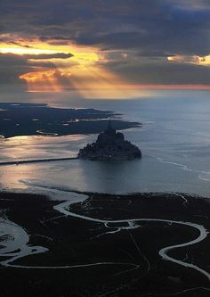 Mont St. Michel France at Sunset