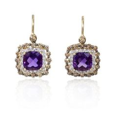 Antique Jewelry Earrings, with amethysts, diamonds set in yello gold | Fashion Jewelry Antique | Rosamaria G Frangini