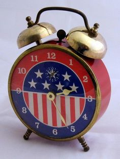 Vintage Stars & Stripes Wind-Up Alarm Clock By Lux Time Division Of Robertshaw Controls Company