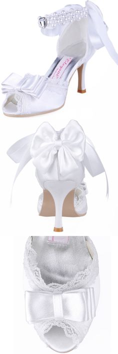 Wedding Shoes And Bridal Shoes: A3202 White Peep Toe High Heel Rhinestone Lace Bow Satin Party Bridal Shoes Us 6 BUY IT NOW ONLY: $32.95