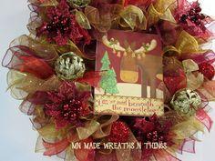 Deco Mesh Entry Wreath, Christmas Wreath, Moose Wreath, Christmas Mesh Wreath, Holiday Wreath, Entryway Wreath, Front Door Wreath, Mesh Door by MnMadeWreathsNThings on Etsy