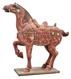 A large jade and agathe inlayed wooden carparisoned sculpture of a horse, presumably Ming dynasty