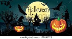 Halloween. Halloween party. Halloween greeting card background. Halloween illustration with Halloween pumpkin, bat, trees, House, moon and witch woman for Halloween Holiday. Halloween vector illustration. Hand Drawn. Stock Vector & Stock Photos | Bigstock