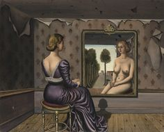 Paul Delvaux 1897 - 1994 LE MIROIR signed P. Delvaux and dated 9-36 (lower right) oil on canvas 110 by 136cm. 43 1/4 by 53 1/2 in. Painted in September 1936.
