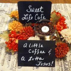 Sweet Life Cafe retreat center piece