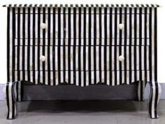 Surrealz French inspired Mother of Pearl Inlaid Sideboard Chest of Drawers in Black monochrome with bold stripe geometric pattern.  Also available in mother of pearl inlay options and other colours.