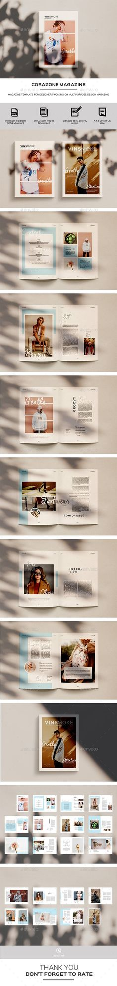 Multipurpose Magazine/Lookbook Template You Magazine, Magazine Design, Magazine Template, Color Change, Minimalism, Give It To Me, Layout, Lettering, Templates