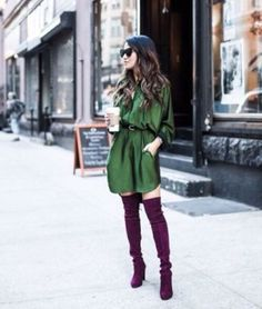 Double NYC :: Grey oversized silhouette & Emerald shirtdress :: Outfit Emerald :: Shirtdress :: Marissa Webb Shoes :: Stuart Weitzman Accessories :: Karen Walker sunglasses Published: October 2015 - love the colors in this Look Fashion, Fashion Outfits, Womens Fashion, Petite Fashion, Fall Fashion, Fashion Beauty, Burgundy Boots, Purple Boots, Purple Suede