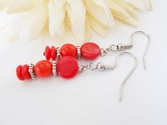 Classic Red Earrings, Scarlet Red Beaded Earrings, Candy Apple Red Czech Glass Jewelry, Primary Red Beaded Jewelry
