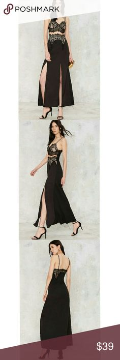 Split Lace Maxi from Nasty Gal The Sweetheart Beat Dress from Nasty Gal comes in a silhouette maxi with double side slits. Black lace with a sweetheart neckline, beige lining at the bust with a thin mesh panel at center. Adjustable thin shoulder straps and side zipper. Polyester. Runs true to size. Nasty Gal Dresses
