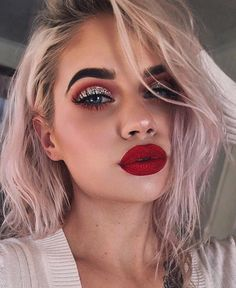 21 Red Lip Makeup Ideas 21 Red Lip Makeup Ideas,make Up Red Lip Makeup Ideas Related Christmas Makeup Inspiration For Your - Fashiotopia - Smokey Eye Ideas. Glam Makeup, Red Lip Makeup, Cat Eye Makeup, Hair Makeup, Red Makeup Looks, Red Eyeshadow Makeup, Matte Makeup, Dramatic Makeup, Red Glitter Eyeshadow