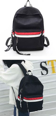 a823befc3f3 Leisure Student Bag Canvas School Backpack Two Color Stripes Waterproof  Striped Rucksack